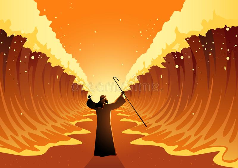 Moses and The Red Sea. Biblical and religion vector illustration series, Moses held out his staff and the Red Sea was parted by God royalty free illustration