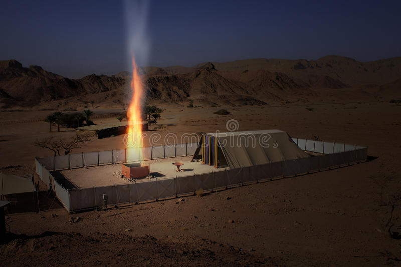 Biblical Tabernacle Model with the altar burning. In the desert of Negev, Timna, Israel stock image
