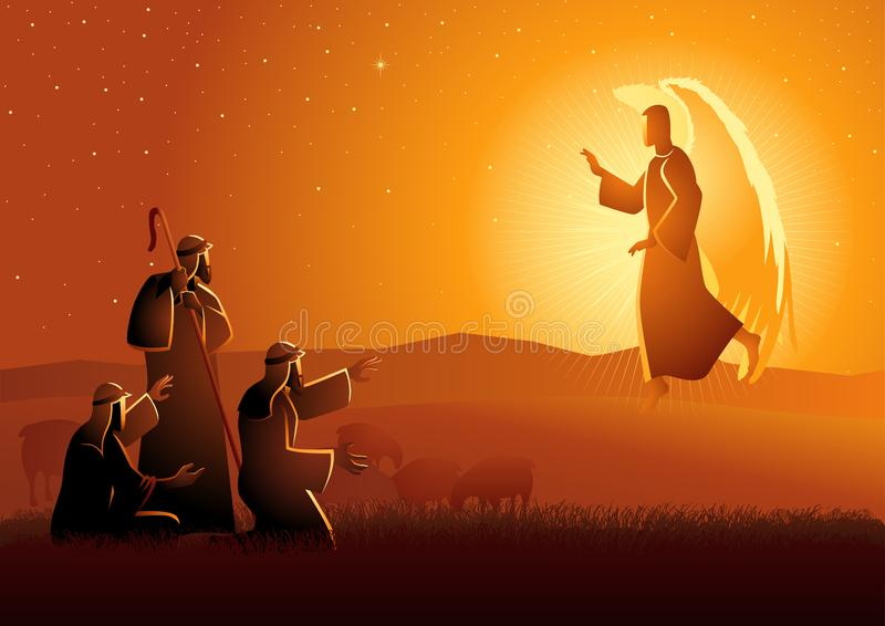 Annunciation to the shepherds royalty free illustration