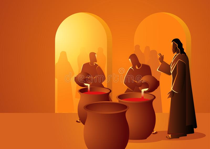 Jesus Turns Water Into Wine. Biblical vector illustration series, Jesus turns water into wine royalty free illustration