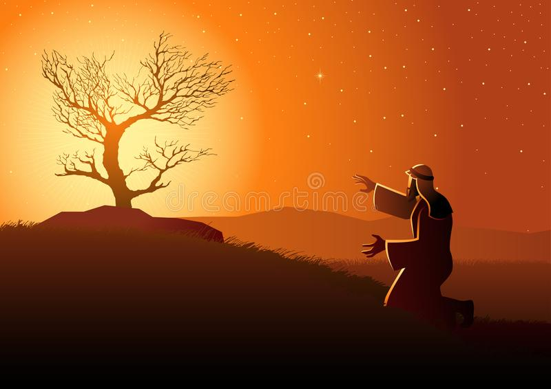 The Burning Bush. Biblical vector illustration series, Moses and the burning bush vector illustration