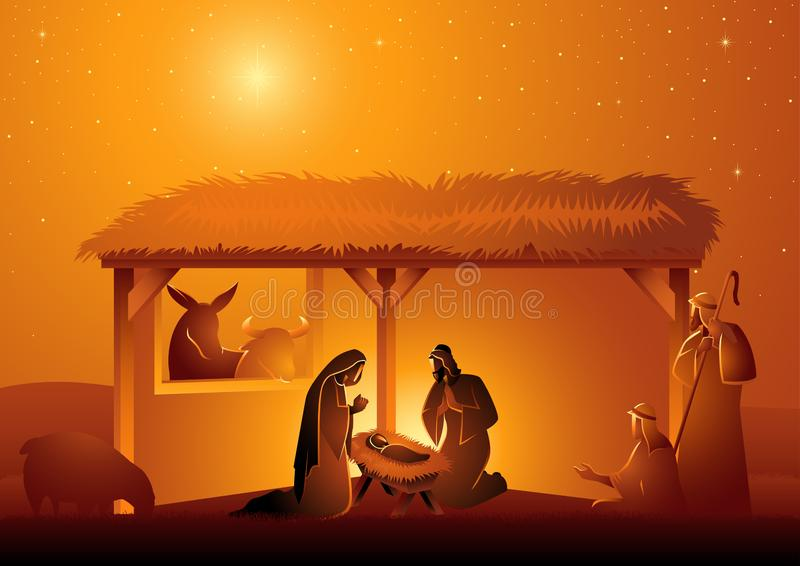 Nativity Scene of The Holy Family In Stable vector illustration