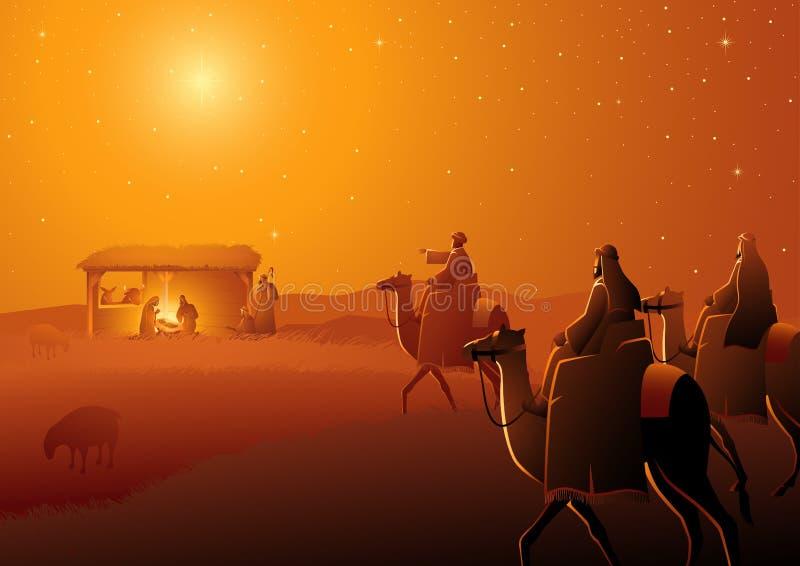 Three Wise Men Arrives royalty free illustration