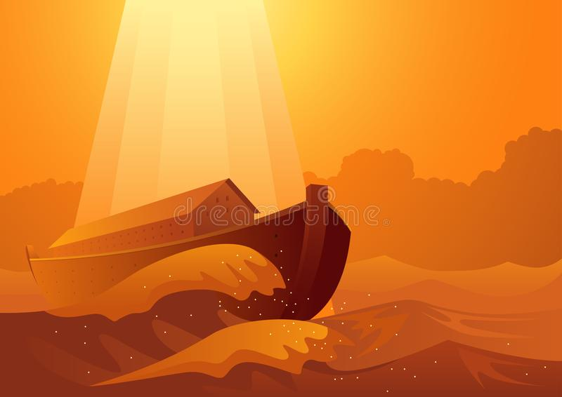 Noah`s ark and the great flood. Biblical vector illustration series, Noah`s ark and the great flood stock illustration