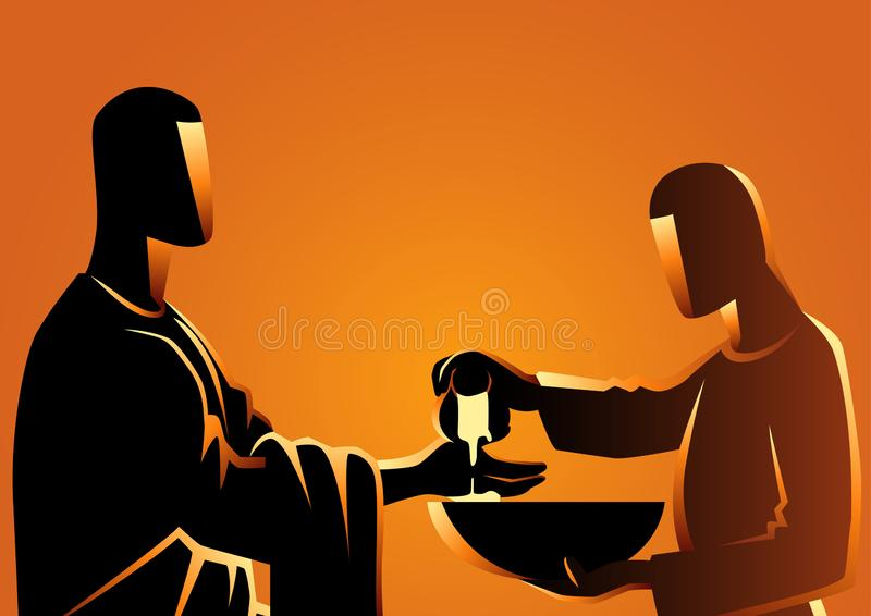Pilate washing his hands royalty free illustration