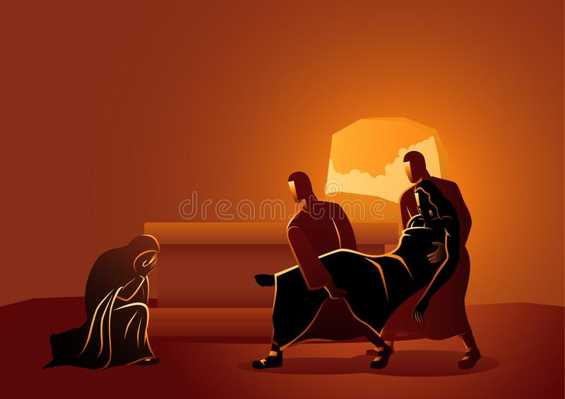 Jesus is placed in the tomb. Biblical vector illustration series. Way of the Cross or Stations of the Cross, fourteenth, Jesus is placed in the tomb royalty free illustration