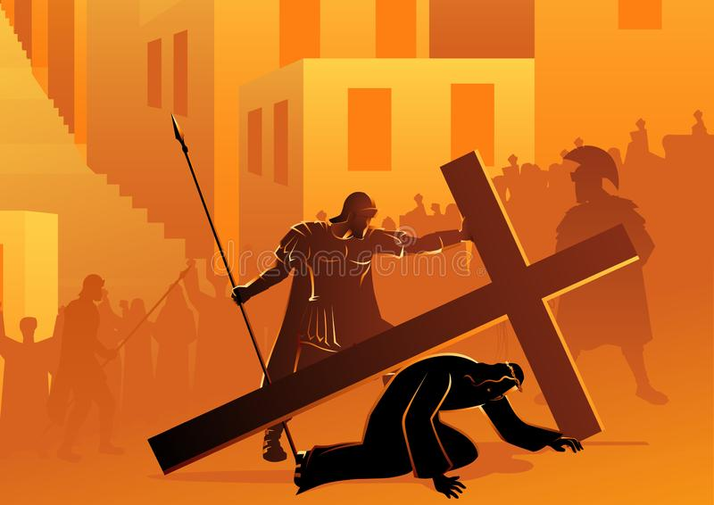 Jesus falls for the second time. Biblical vector illustration series. Way of the Cross or Stations of the Cross, seventh station, Jesus falls for the second time royalty free illustration