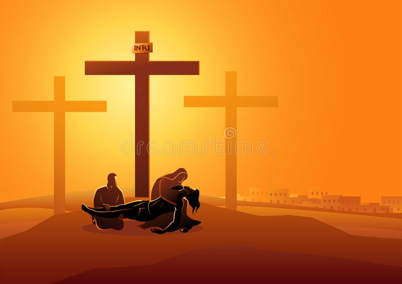 Jesus is taken down from the cross. Biblical vector illustration series. Way of the Cross or Stations of the Cross, thirteenth station, Jesus is taken down from vector illustration