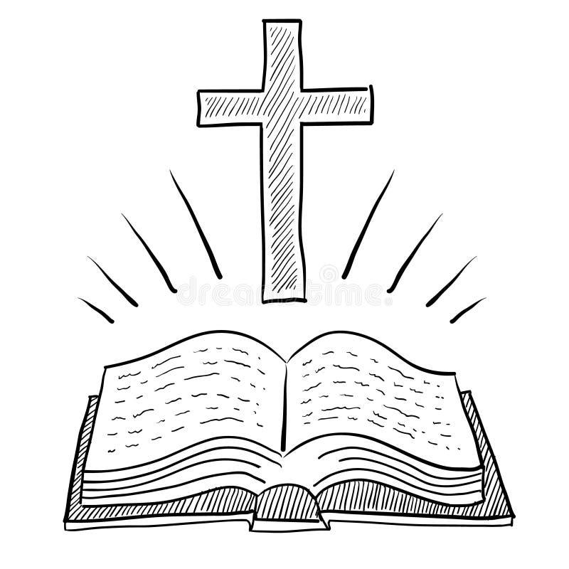 biblii chrześcijanina krzyża rysunek royalty ilustracja