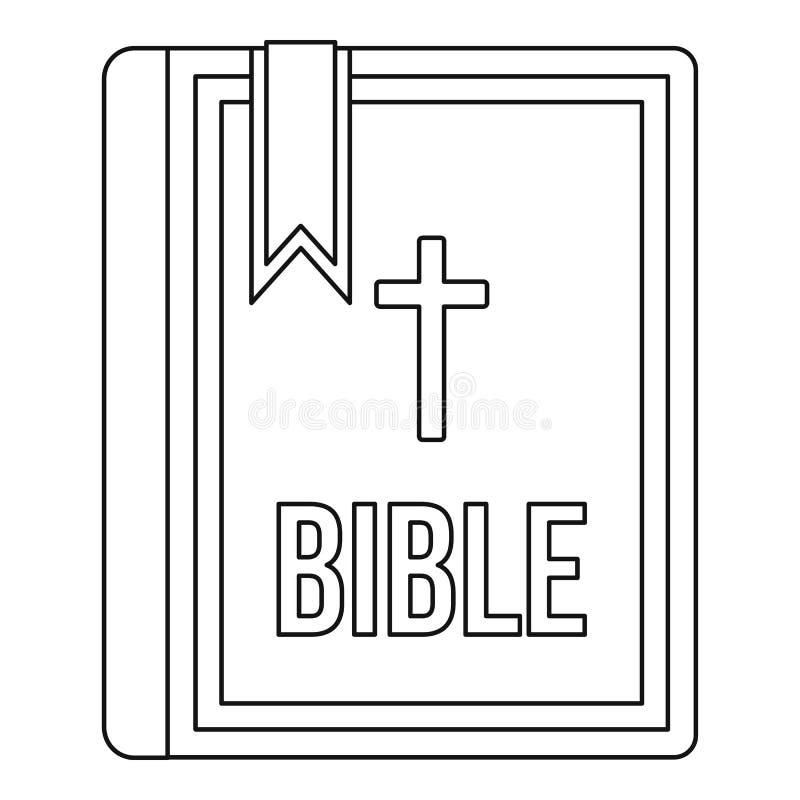 Biblii ikona w konturu stylu royalty ilustracja