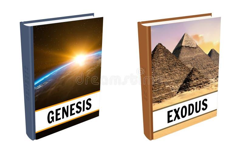 Biblii książki - geneza i exodus ilustracja wektor