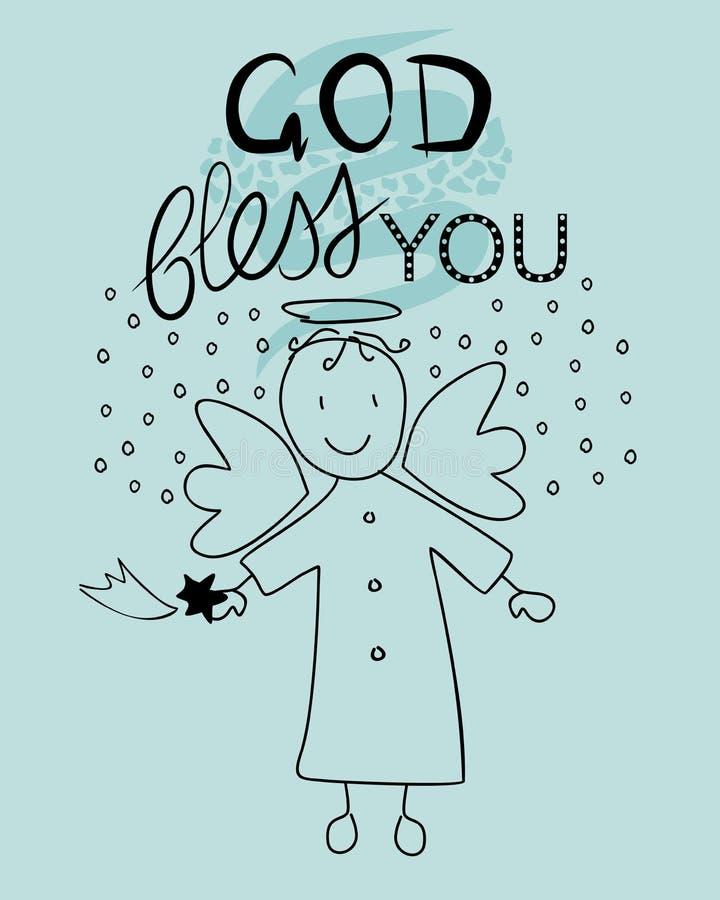 Biblii literowania bóg błogosławi ciebie i małego anioła royalty ilustracja