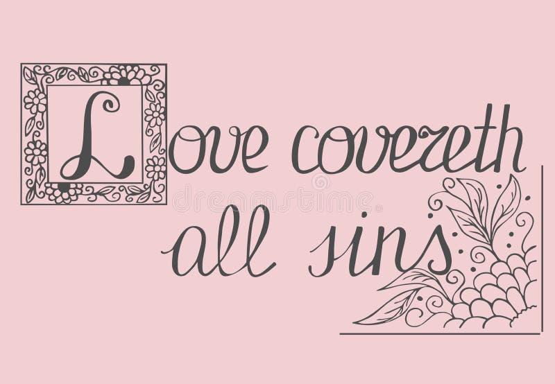 Biblii literowania miłość zakrywa wszystkie grzechy ilustracja wektor