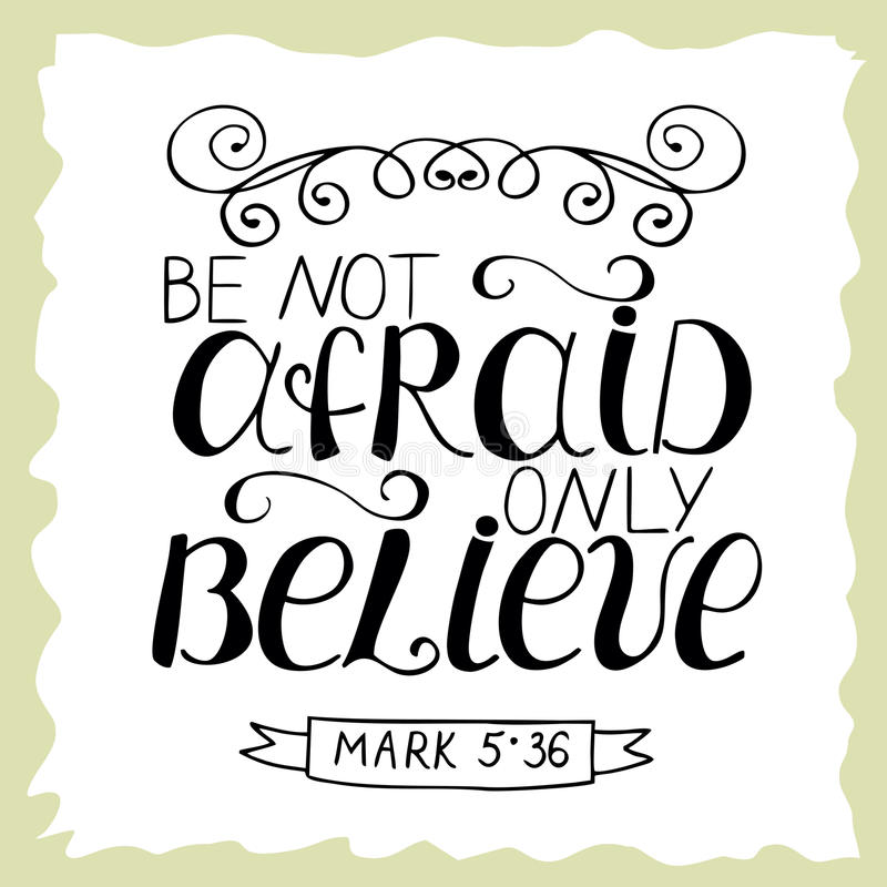 Biblijny literowanie no Był przestraszony, tylko wierzy ilustracja wektor