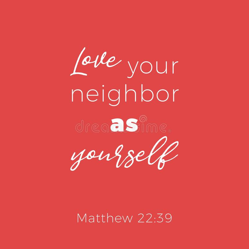 Biblijny zwrot od Matthew 22:39 miłości twój sąsiad jako yoursel royalty ilustracja