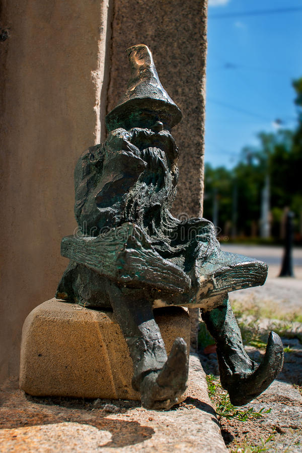 Bibliofil, Bibliophile Dwarf Wroclaw. Symbol of Wroclaw, brass dwarf. There are more than 230 in the city and still they come royalty free stock photo