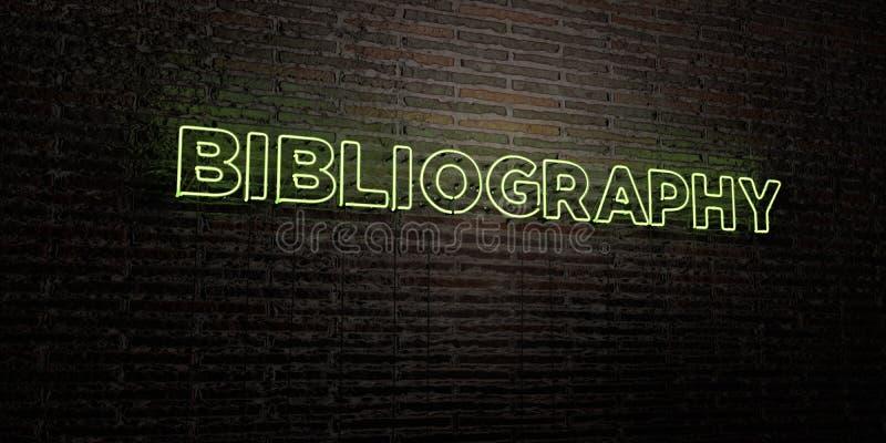 BIBLIOGRAFIA - Realistyczny Neonowy znak na ściana z cegieł tle - 3D odpłacający się królewskość bezpłatny akcyjny wizerunek ilustracja wektor