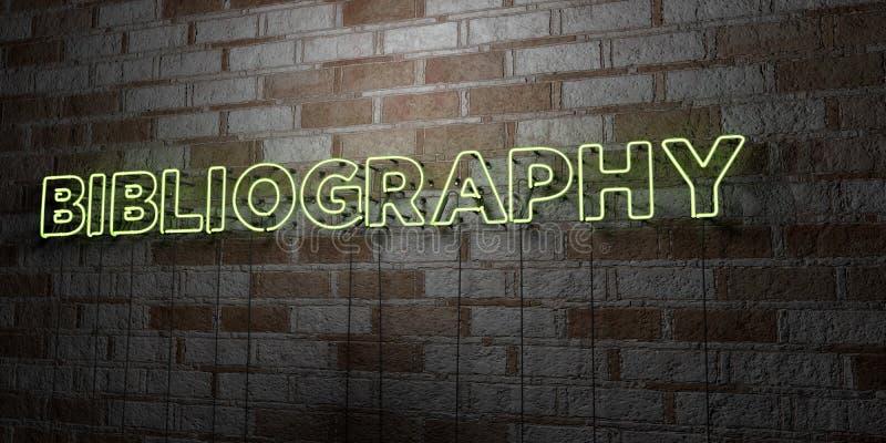 BIBLIOGRAFIA - Rozjarzony Neonowy znak na kamieniarki ścianie - 3D odpłacająca się królewskości bezpłatna akcyjna ilustracja ilustracja wektor