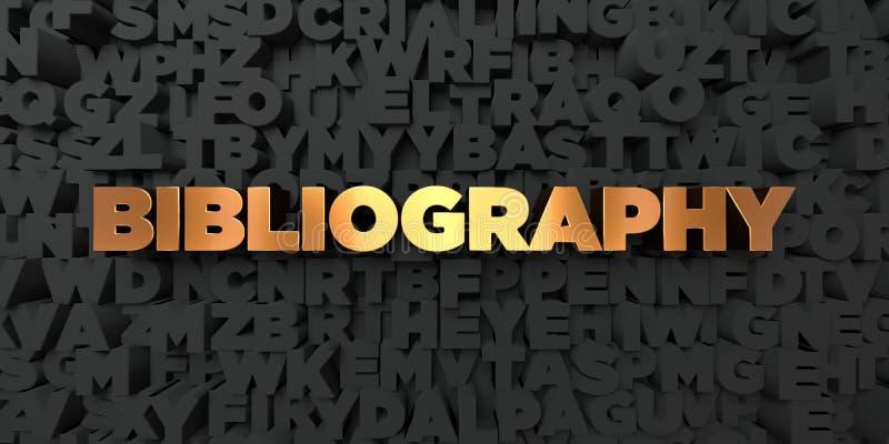 Bibliografia - Złocisty tekst na czarnym tle - 3D odpłacający się królewskość bezpłatny akcyjny obrazek ilustracja wektor