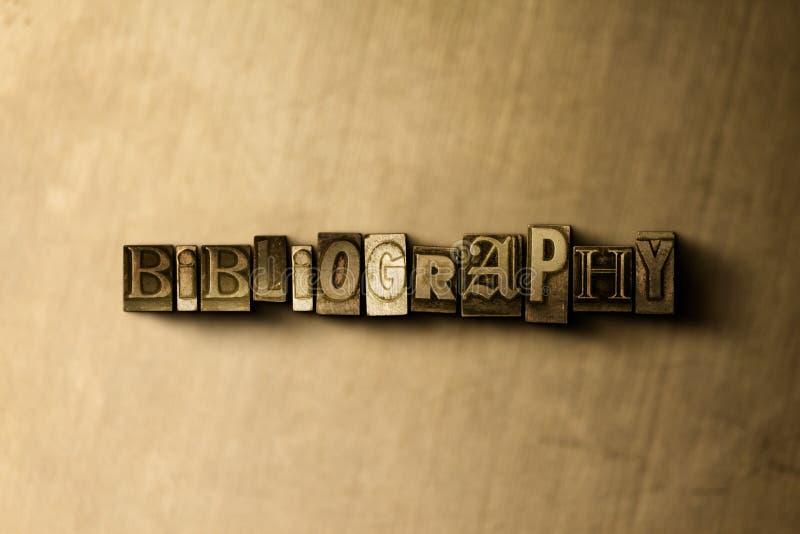 BIBLIOGRAFIA - zakończenie grungy rocznik typeset słowo na metalu tle royalty ilustracja