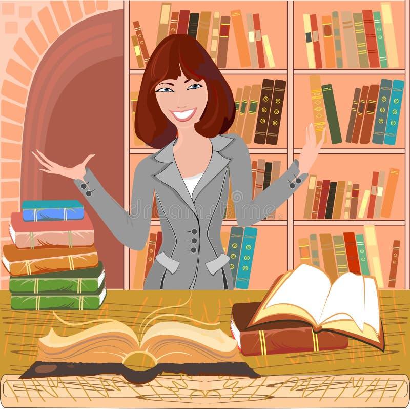 Bibliotecário com um livro aberto ilustração royalty free