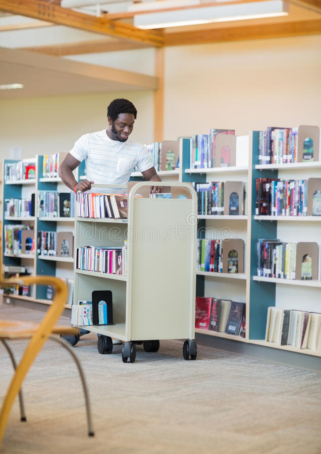 Bibliotecário With Trolley Books imagem de stock