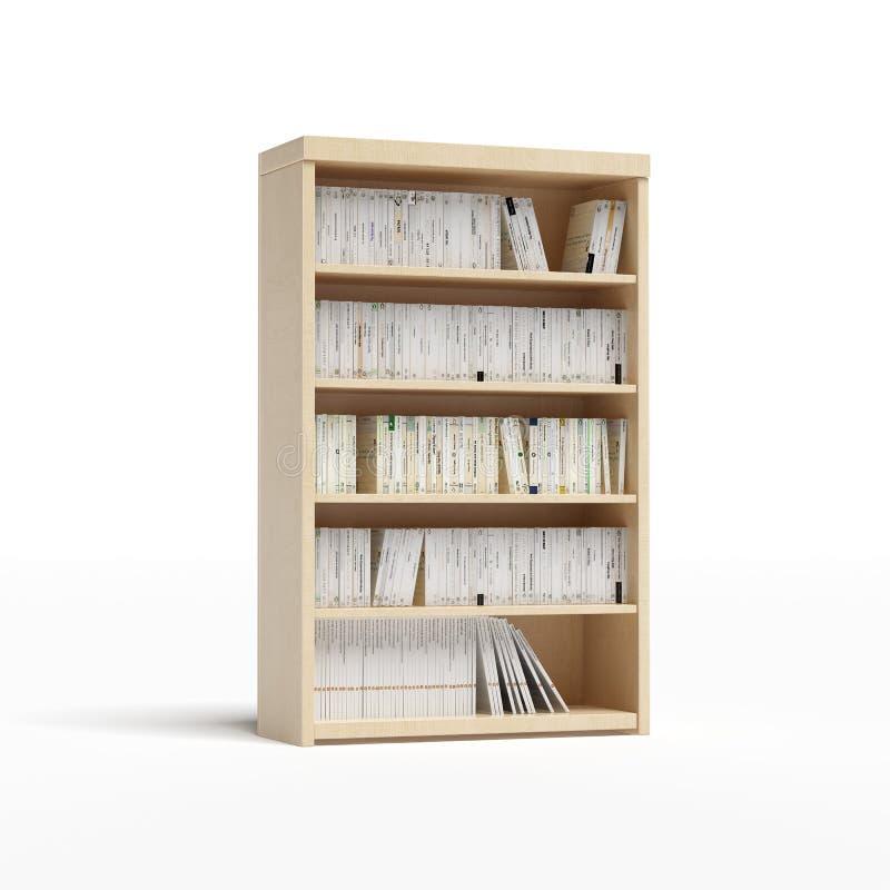 Biblioteca branca com livros ilustração do vetor
