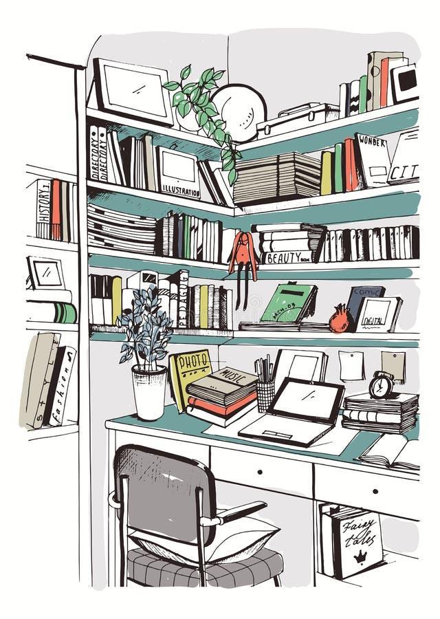 Biblioteca casera interior moderna, estantes, ejemplo colorido dibujado mano del bosquejo del lugar de trabajo libre illustration
