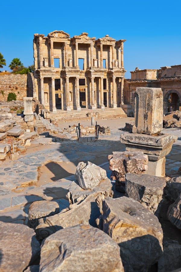 Biblioteca centigrado antica in Ephesus Turchia immagini stock