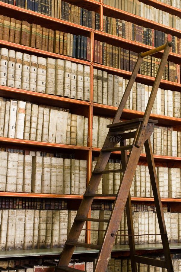 Biblioteca completamente de livros e da escada envelhecidos fotos de stock royalty free