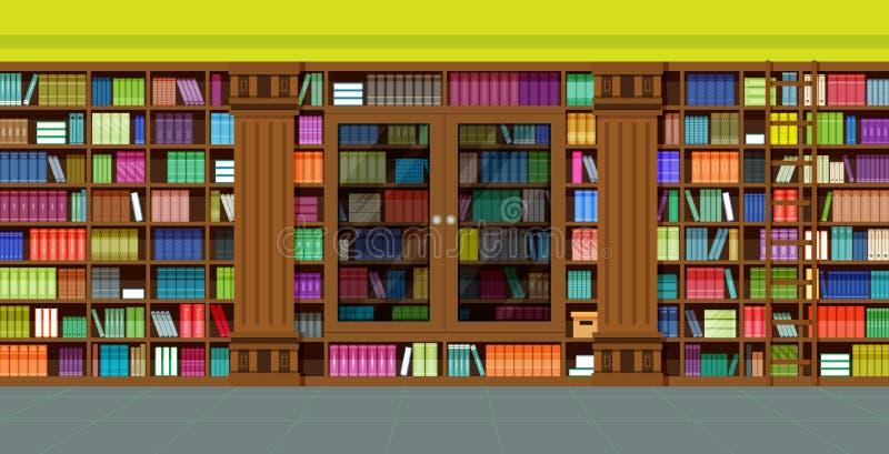 Biblioteca das estantes ilustração do vetor