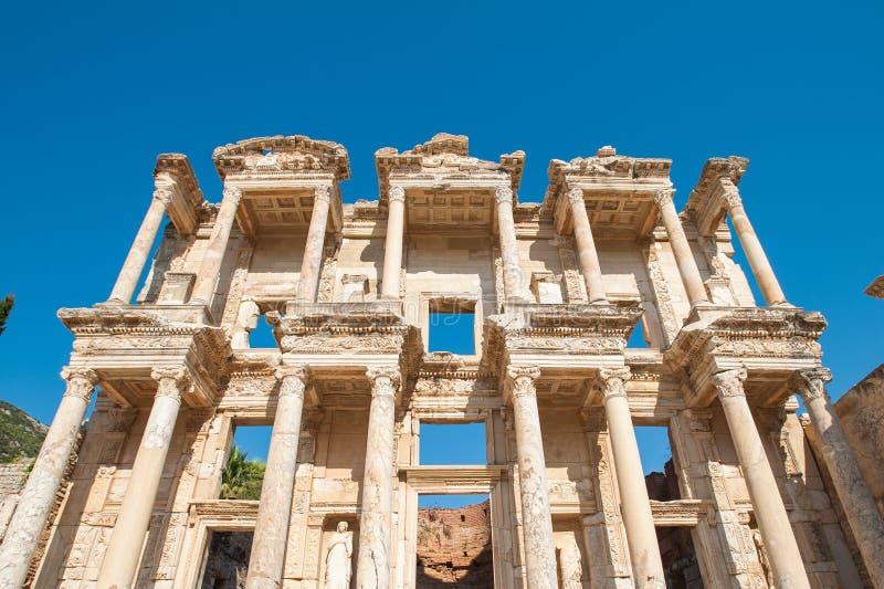 Biblioteca de Celsus en la ciudad antigua de Ephesus, Turqu?a Ephesus es un sitio del patrimonio mundial de la UNESCO fotos de archivo