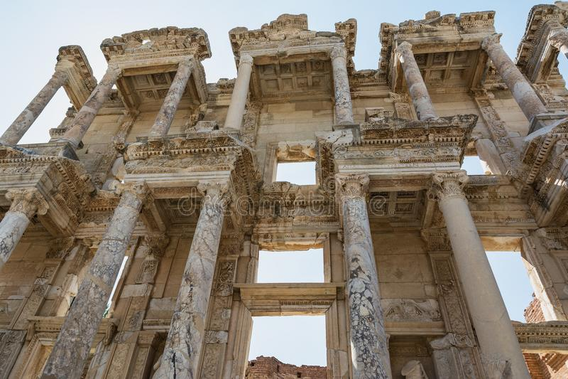 Biblioteca de Celsus na cidade antiga de Ephesus, Selcuk, Turquia imagem de stock