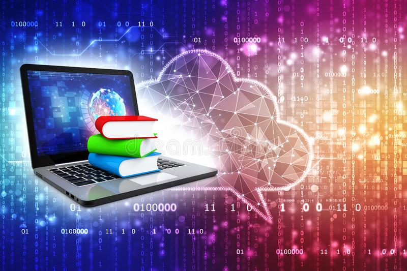 Biblioteca de Digitaces y concepto en línea de la educación en fondo digital 3d rinden fotos de archivo