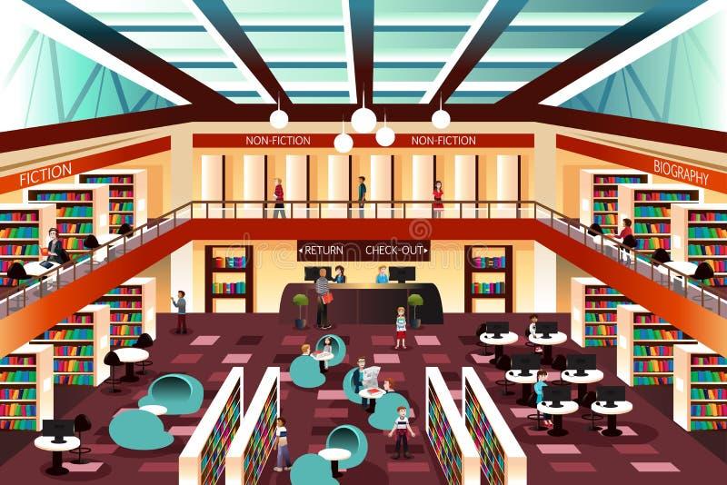 Biblioteca de mirada moderna libre illustration