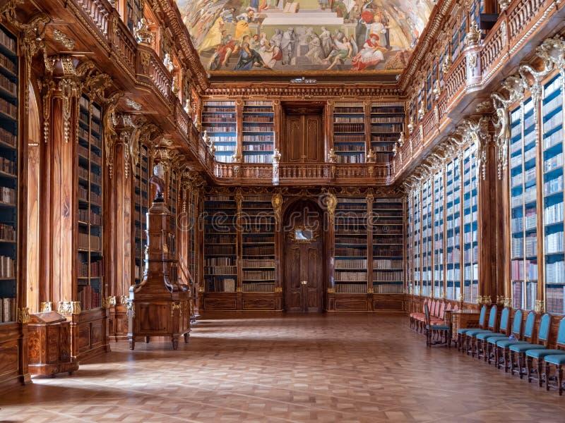 Biblioteca de monastério de Strahov - Salão filosófico fotografia de stock royalty free