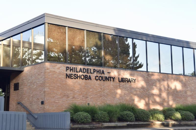 Biblioteca de Philadelphfia, Neshoba County, Philadelphfia, Mississippi fotografia de stock