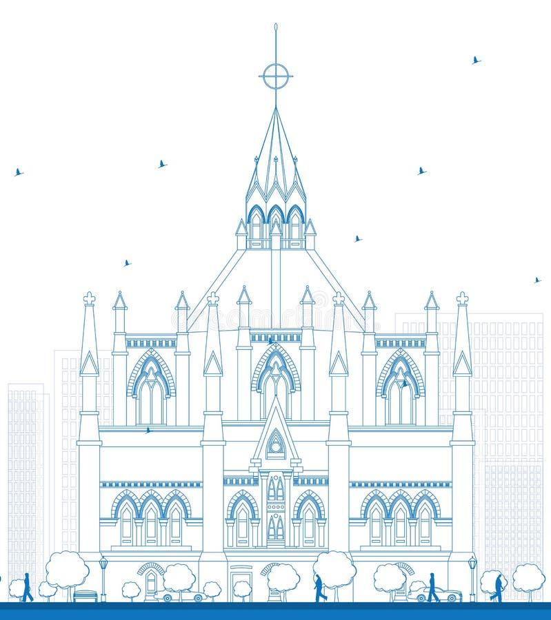 Biblioteca del esquema del parlamento, Ottawa, Ontario, Canadá libre illustration