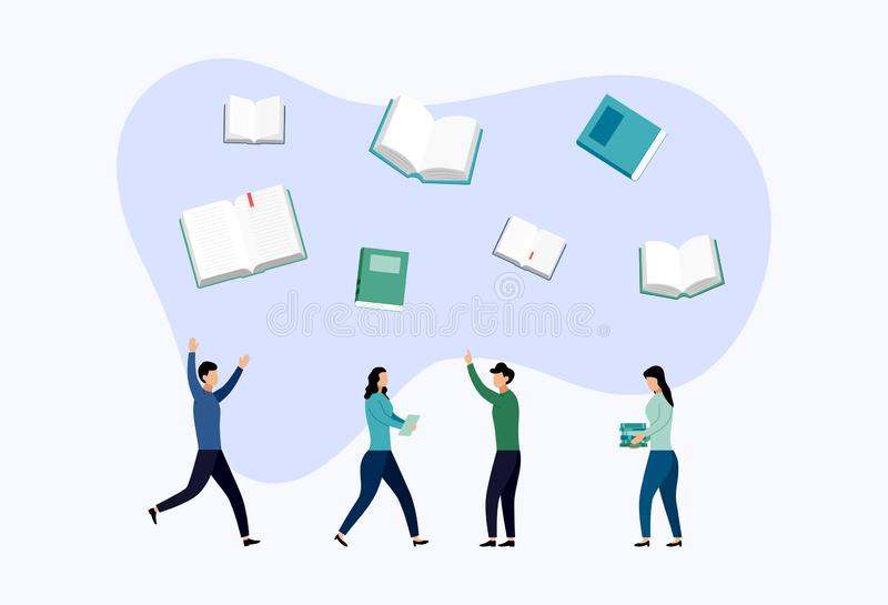 Biblioteca del libro o bandera del concepto del cartel del festival del libro ilustración del vector
