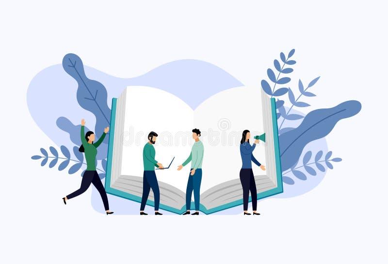 Biblioteca del libro o bandera del concepto del cartel del festival del libro stock de ilustración