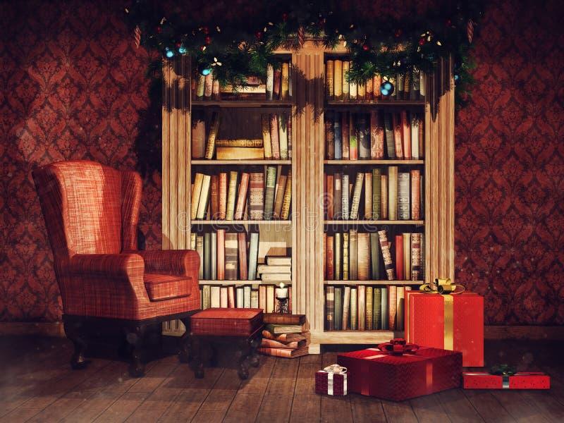 Biblioteca del vintage con los regalos de Navidad ilustración del vector