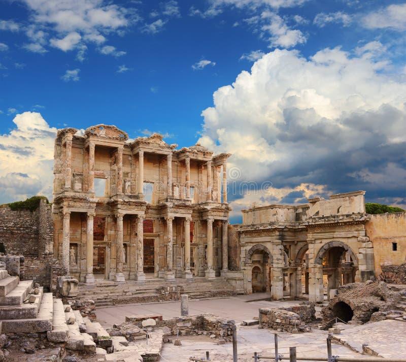 Biblioteca di Celso in Ephesus immagini stock libere da diritti
