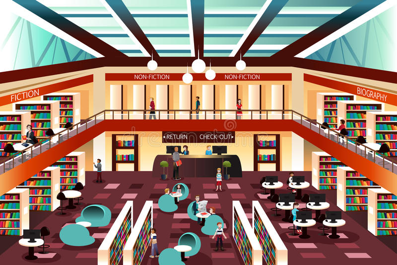 Biblioteca di sguardo moderna royalty illustrazione gratis