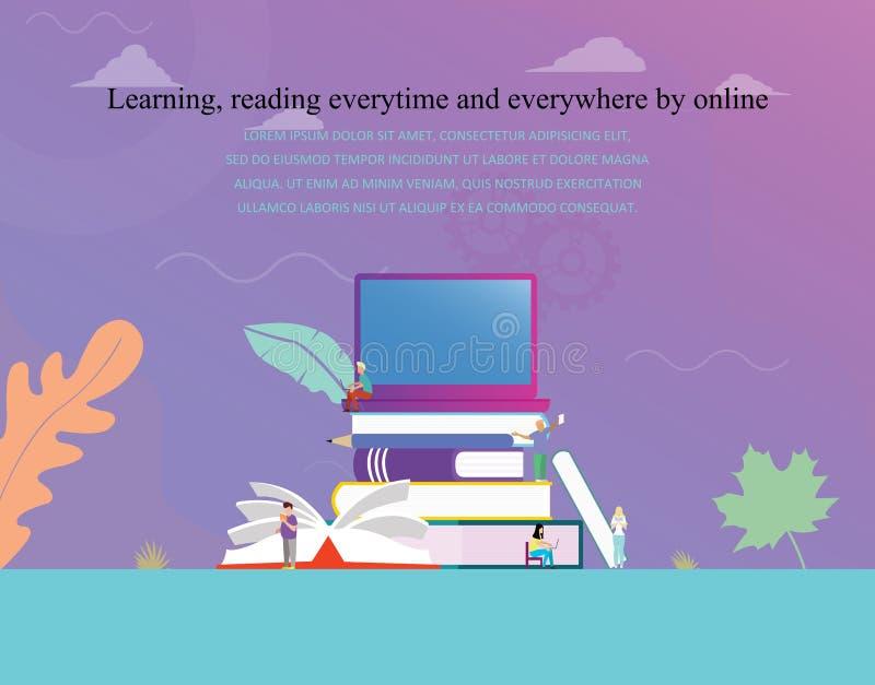 Biblioteca digital em linha do conceito da ilustração do vetor da educação ou do conceito da leitura do ebook, aprendendo ilustração stock