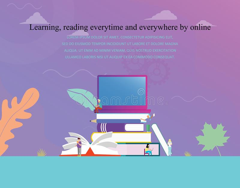 Biblioteca digital en línea del concepto del ejemplo del vector de la educación o del concepto de la lectura del ebook, aprendien stock de ilustración