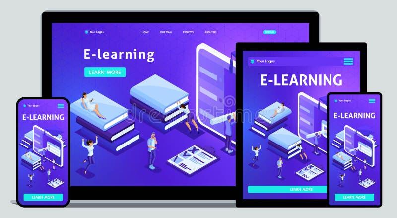 Biblioteca do conceito da página da aterrissagem do molde do Web site, ensino eletrónico, educação, biblioteca dos meios ou arqui ilustração stock