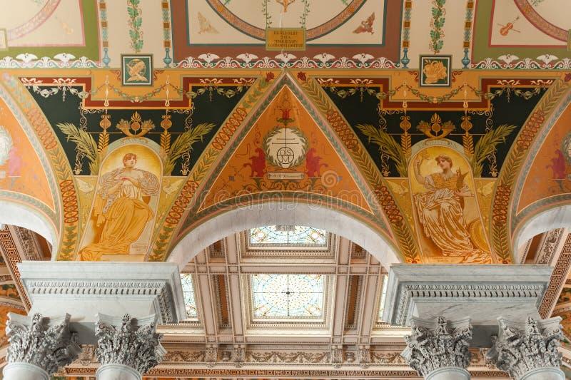 A Biblioteca do Congresso no interior do Washington DC foto de stock royalty free