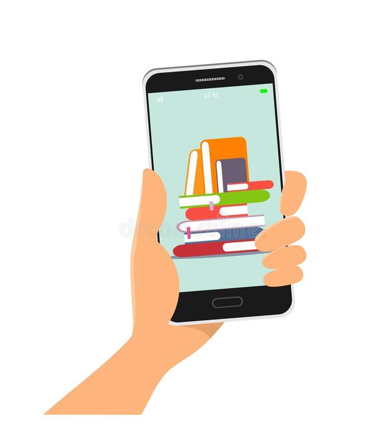 Biblioteca em linha App m?vel Telefone ? disposi??o, ilustra??o do vetor no estilo liso ilustração do vetor