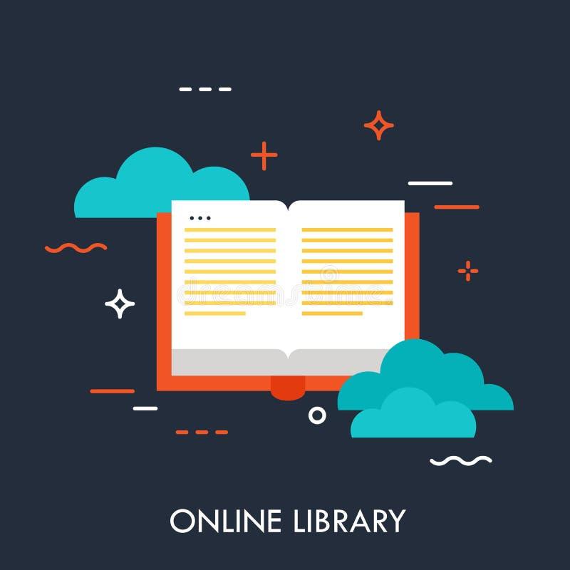 A biblioteca em linha, linha fina bandeira do projeto liso, pode ser usada para o boletim de not?cias do email, bandeiras da Web, ilustração stock