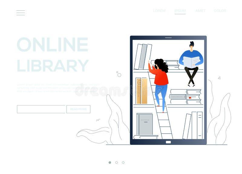 Biblioteca en línea - bandera plana colorida de la web del estilo del diseño libre illustration